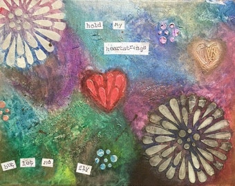 "Print of original mixed media collage ""hold my heartstrings"""