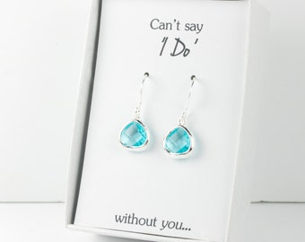 Tiny Aquamarine Silver Earrings, March Birthstone Earrings, Blue Silver Earrings, Bridesmaid Gift, Bridesmaid Earrings, Blue Wedding Jewelry