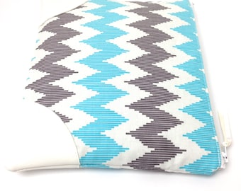 Clutch Purse, Chevrons in Blue White and Gray, White Vegan Leather