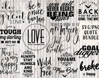 quote svg bundle, buy 1 get 3 free, digital print, printable quotes, printable art, vinyl designs, svg files for silhouette, cricut files