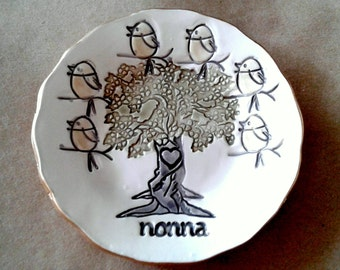 NONNA Trinket  Dish  6 birdies edged in gold Mothers Day Gift