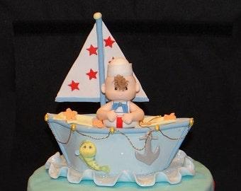 Nautical Birthday, Nautical Cake Decor, Sailor Baby Shower, Nautical Baby Shower, Girls Pink Nautical, Sailor Cake Topper, Baby Sailor Cake