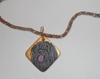 Hungarian Puli Dog Snake Chain Necklace Hand Painted Ceramic Pendant