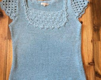Vintage 1960s/70s Style Light Blue Crochet Knit Top, UK 8-10