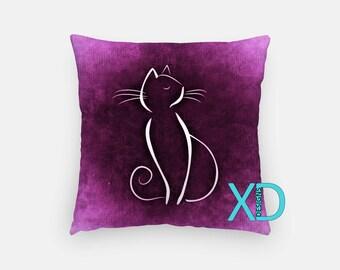 Purple Cat Pillow, Animal Pillow Cover, Whiskers Pillow Case, Purple Pillow, Artistic Design, Home Decor, Decorative Pillow Case, Sham