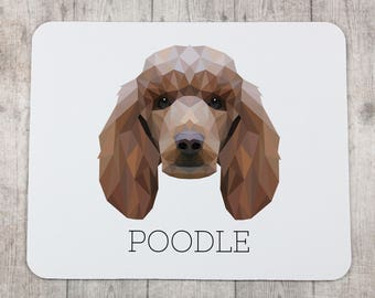 A computer mouse pad with a Poodle dog. A new collection with the geometric dog