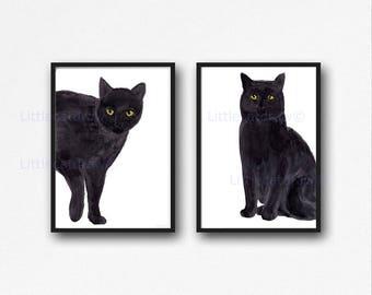 Black Cat Print Set Of 2 Watercolor Painting Print Cat Wall Decor Cat Lover Gift Living Room Decor Wall Art Print Black Cat Art Prints