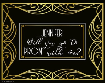 Custom Digital Promposal Sign, DIY black gold printable Prom decor, Personalized Prom invitation, large will you go to prom, teen party prop