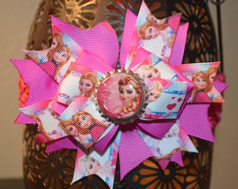 Disney Frozen Elsa Hair Bow. Dark Pink