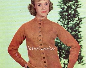 Vintage  Womens cardigan Knitting Pattern pdf  1950s Ladies High Neck Raglan Cardigan 34-38inch DK light worsted 8ply Pdf instant download