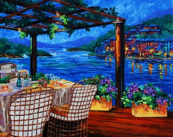 Giclee Canvas Print Colorful night Wall Decor original oil painting print Cafe Landscape Canvas wall art decor Rebecca Beal