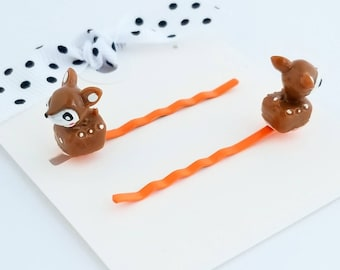 tiny deer brown hair pins set of two for little girls hair accessories bobby pins