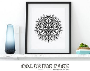 Mandala Coloring Page Printable Adult Coloring Pages AntiStress Coloring Art Therapy Instant Download Zen Coloring Mandala Digital Wall Art