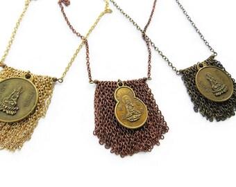 Buddha Necklace Protection Necklace Gold Buddha Charm Necklace Fringe Necklace