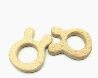 Rabbit---Natural Wood Teether, Natural Wooden Dino Teether, Natural Unfinished Wood Teether, Natural Wooden Teether