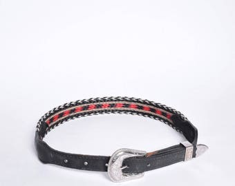 Vintage 90's Small Black and Red Western Style Belt with Silver Metal Buckle (Made in USA)