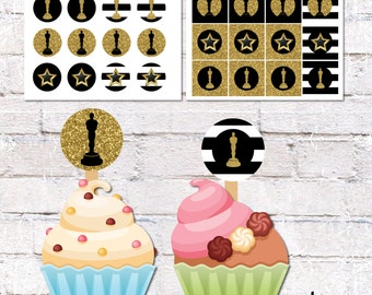 Cupcake Toppers and Cake Bunting for Hollywood Party - Stripes. Film Theme Party Decor. Printable / DIY.  *DIGITAL DOWNLOAD*