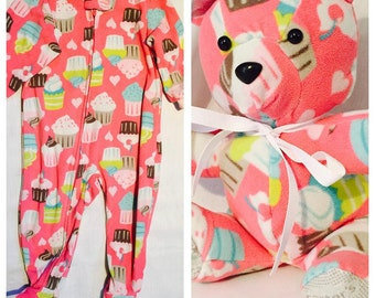 NEW Eye Color Choices - Keepsake Bear - Memory Bear - Stuffed Bear made from an outfit of your choice