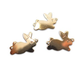 Rose Gold Plated Bunny Engraving Charms (4x) (M502-D)
