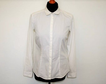 Womens White Blouse  Office Shirt White Long Sleeves White Blouse  Casual Secretary Shirt Medium Size