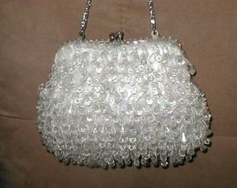 Vintage Off-White Crystal Chandelier-Beaded Evening Purse