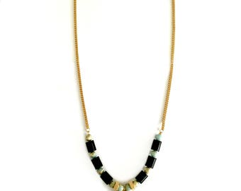 Black gold triangle pendant, black beaded necklace, gold triangle necklace, turquoise black gold.