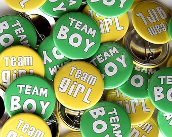 "100 Baby Shower 1.5"" Pinbacks - Team Boy Team Girl - Yellow Green BOLD - Gender Reveal"