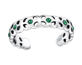 Sterling Silver Emerald Toe Ring