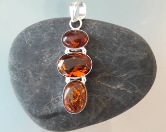 Citrine Quartz and Baltic Amber Pendant in 925 Sterling Silver.