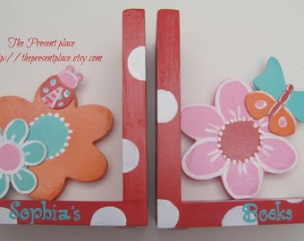 Hand painted personalized bookends,Bold flower bookends,pink,orange,turquoise,red,ladybuds,girls bookends,kids bookends,children's bookends