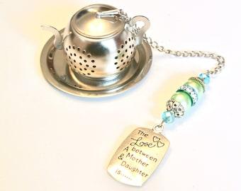 Mother Daughter Tea Infuser, Mother's Day Tea Infuser, Green & Blue Beaded Mesh Tea Ball, Tea Party, Mad Hatter, Love Charm Tea Infuser