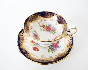 Cup and Saucer Tea Cup Hammersley Cobalt Blue Gold Gilt Pink Floral Bouquets