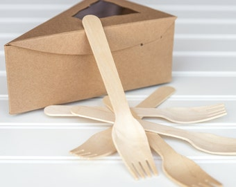 "25 Individual Kraft Pie Boxes with 25 Wooden Forks / 6 3/8"" x 4 1/4"" x 2 1/2"""