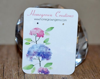 Watercolor Flowers Custom Earring Display Cards Personalized Jewelry Display Cards   DS0022