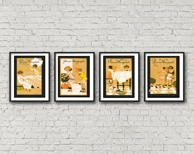 4 Piece Wall Art - CHILDREN'S Art Deco NURSERY Art- Free Shipping -4 Framed And Matted Prints - Black Or White Frames - Available In 3 Sizes