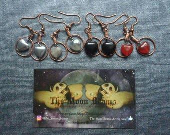 Gemstones heart earrings- Rustic-Goth-boho-gypsy-Witchy-crystal earrings-gemstones earrings-hippie-goth-dark