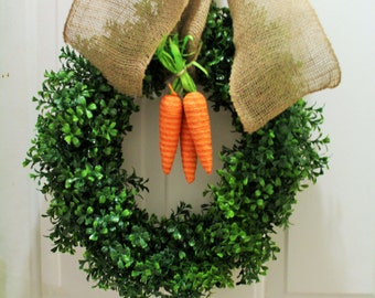 Easter Faux boxwood wreath ,  spring wreath,carrot Wreath artificial boxwood wreath , outdoor wreath ,Front door Wreath