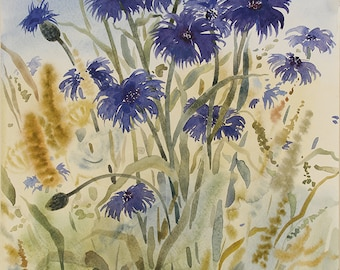 Blue Cornflowers Field, Original Watercolor Painting ( 40 x 30 cm )