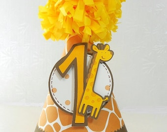 Giraffe Childrens Paper Party Hat 1st Birthday Safari Yellow Brown Animal Print with Pom Pom