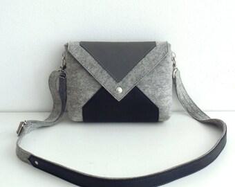 Gray Black Wool Felt Genuine Leather Crossbody Bag