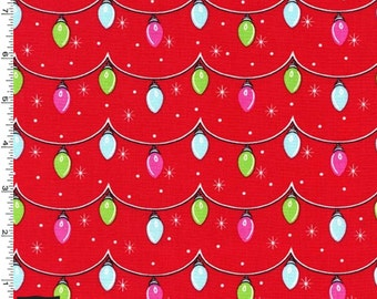 Twinkly Lights Fabric - Santa - sold by the 1/2 yard