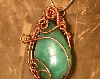 47ct-Natural-High-Grade-Unique-Chrysocolla wrapped in copper