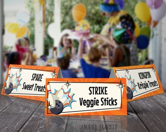Bowling Party Food Label - Bowling Bash, Bowling Birthday, Table Tents, Place Cards, Orange/Blue | INSTANT Download Printable PDFs