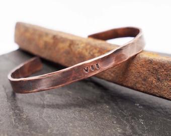 Men's Copper Cuff, Roman Numeral Date Bracelet, 7th Anniversary Gift, Copper Anniversary, Men's Copper Bracelet, VII, 22nd Anniversary, XXII