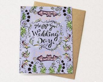 Wedding Card - happy wedding day greeting card, wedding card, bride