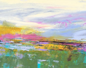 Abstract Landscape - 'Happy Days' - acrylic painting on canvas - size 20cm x 50cm