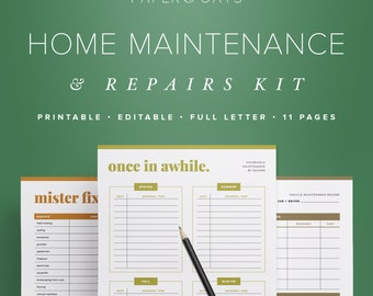Home Maintenance Kit, Household Binder, Household Printable, Home Management, Project Planner, Home Improvement, Vehicle Maintenance PDF