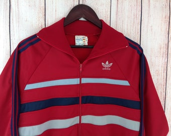 Vintage 80s Adidas First Ventex Track Top Size S Red Blue Grey Stripes Striped Casuals Oldschool France Made 1980s Size D4/46 F168 UK Small