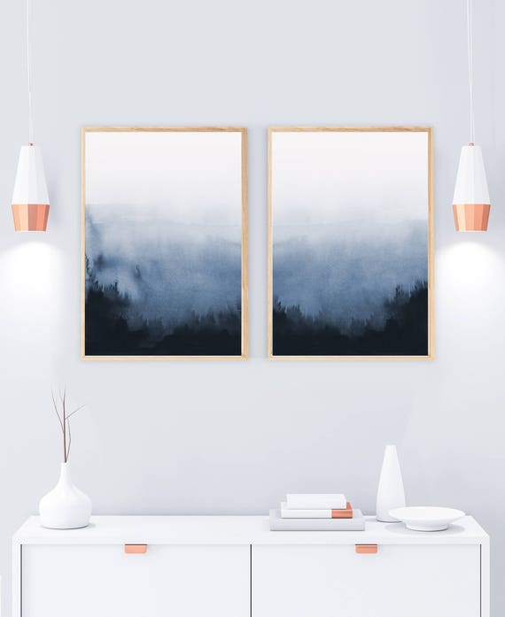 Set of 2 prints abstract art printable print set two prints blue wall art blue and white living room art bedroom art winter decor