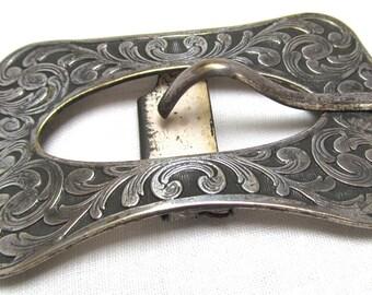 Art Nouveau Belt Buckle Repousee Silvertone Metal